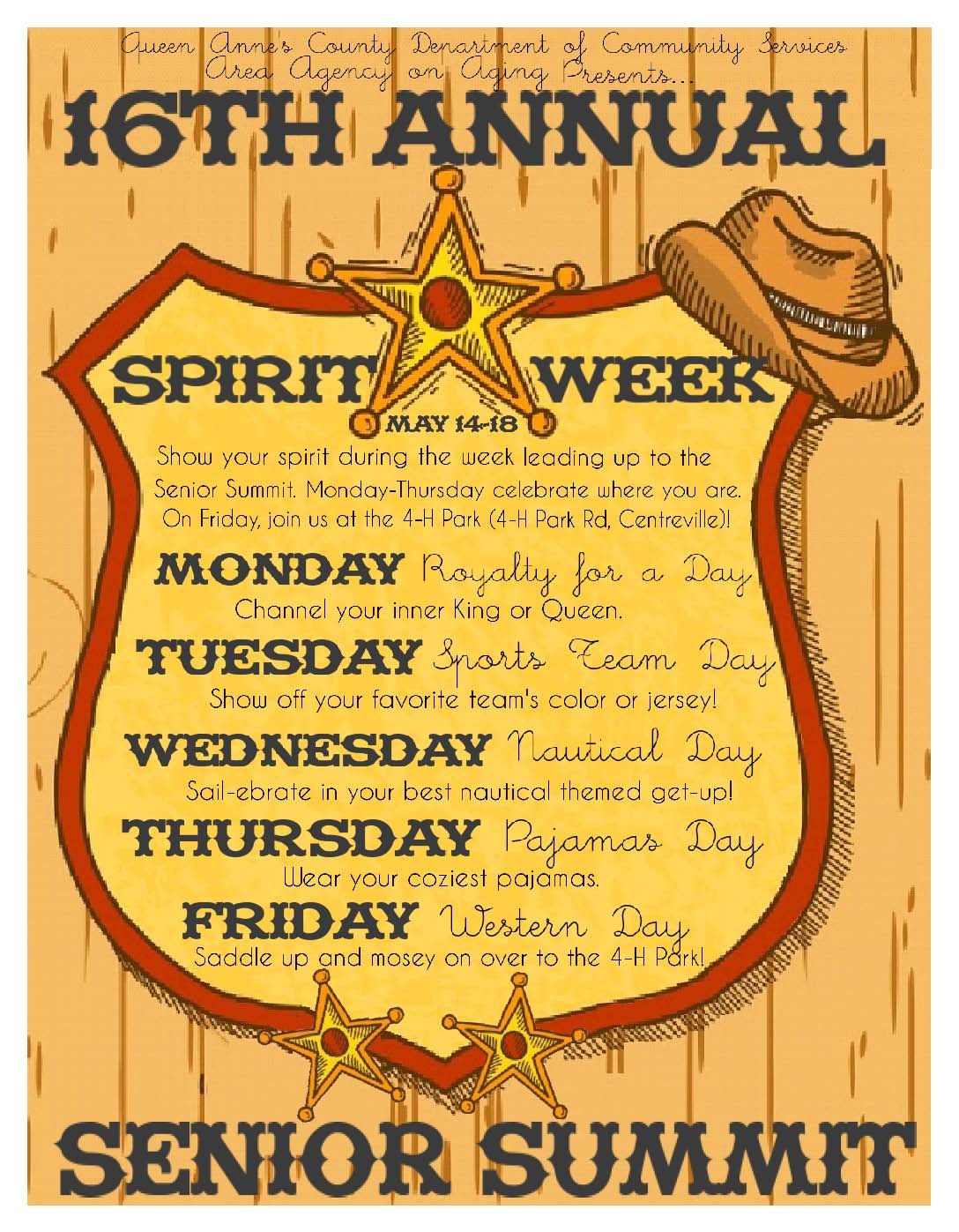 2018 Spirit Week Flyer