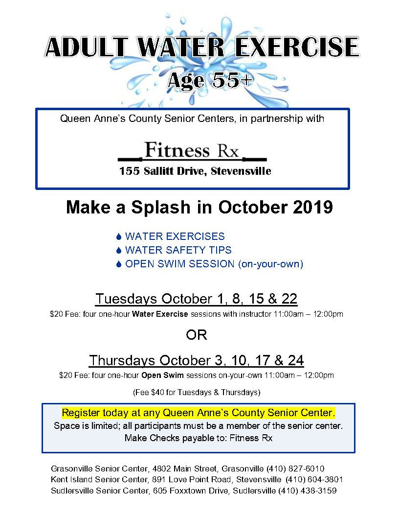 10 - October 2019 Water Exercise flyer _