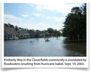 Kimberly Way in the Cloverfields community is inundated by floodwaters resulting from Hurricane Isab