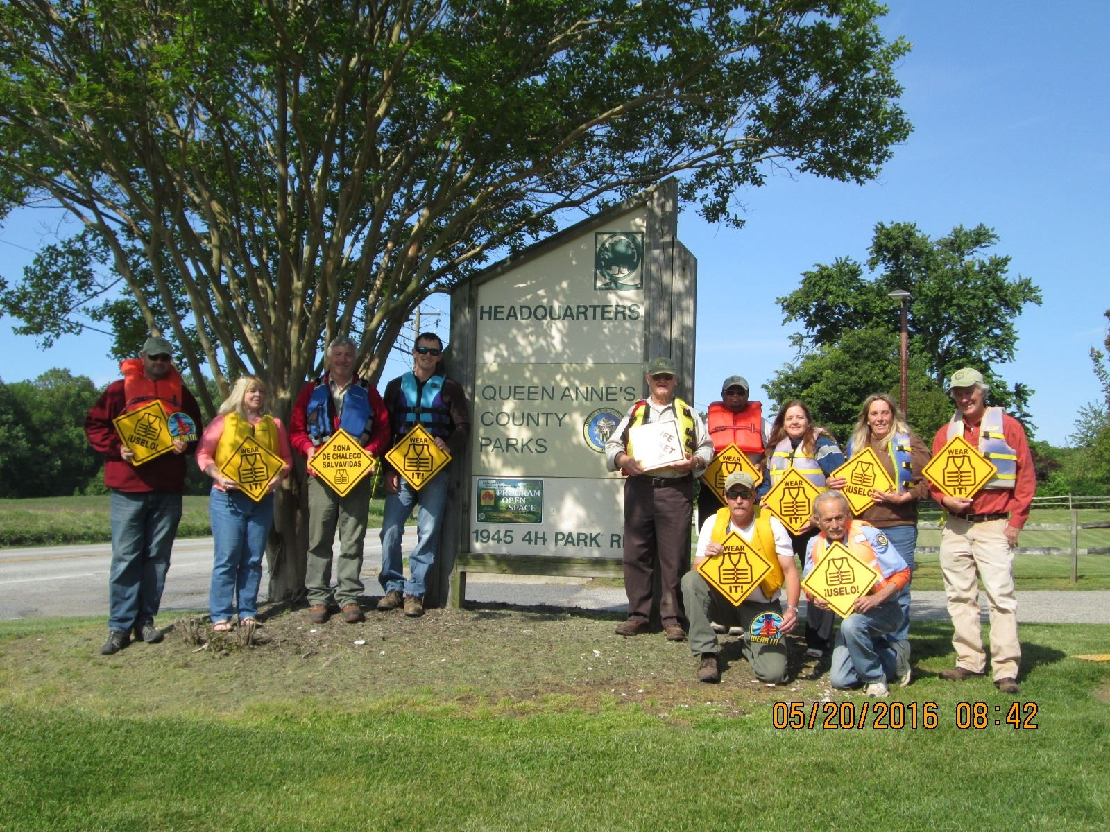"Parks Department Members on ""Wear a Life Preserver to Work Day"""