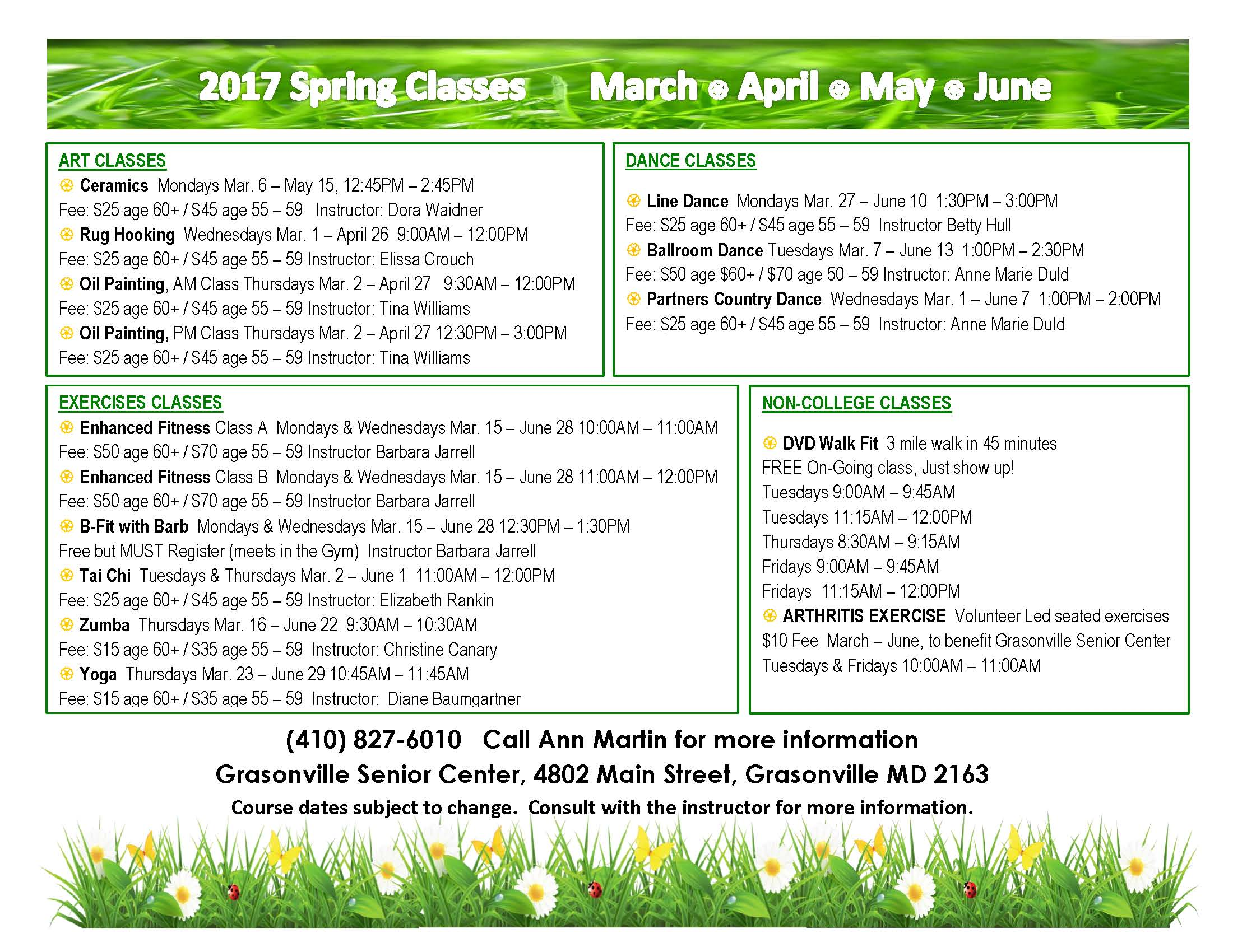 2017 Spring Classes flyer