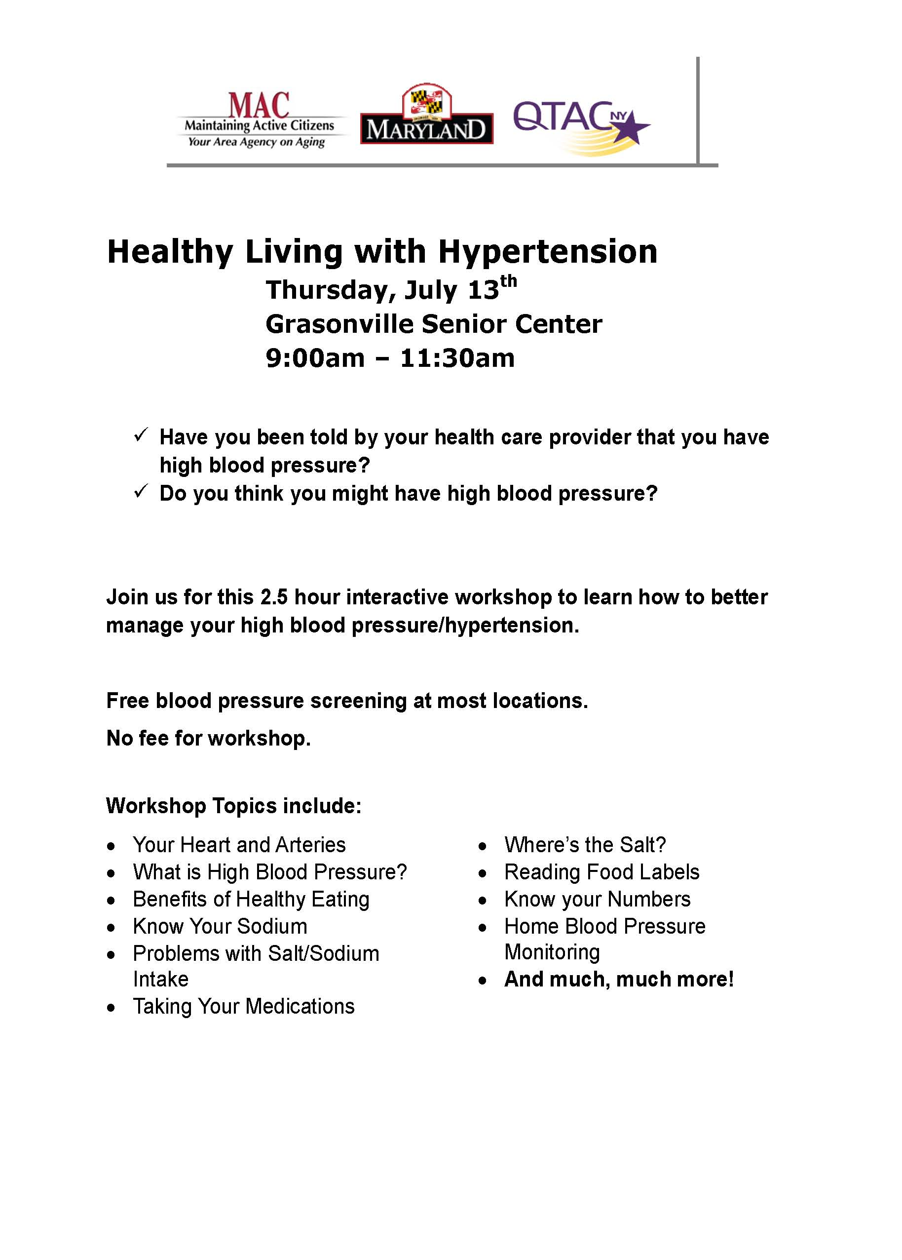 GSC Healthy Living with Hypertension one-pager