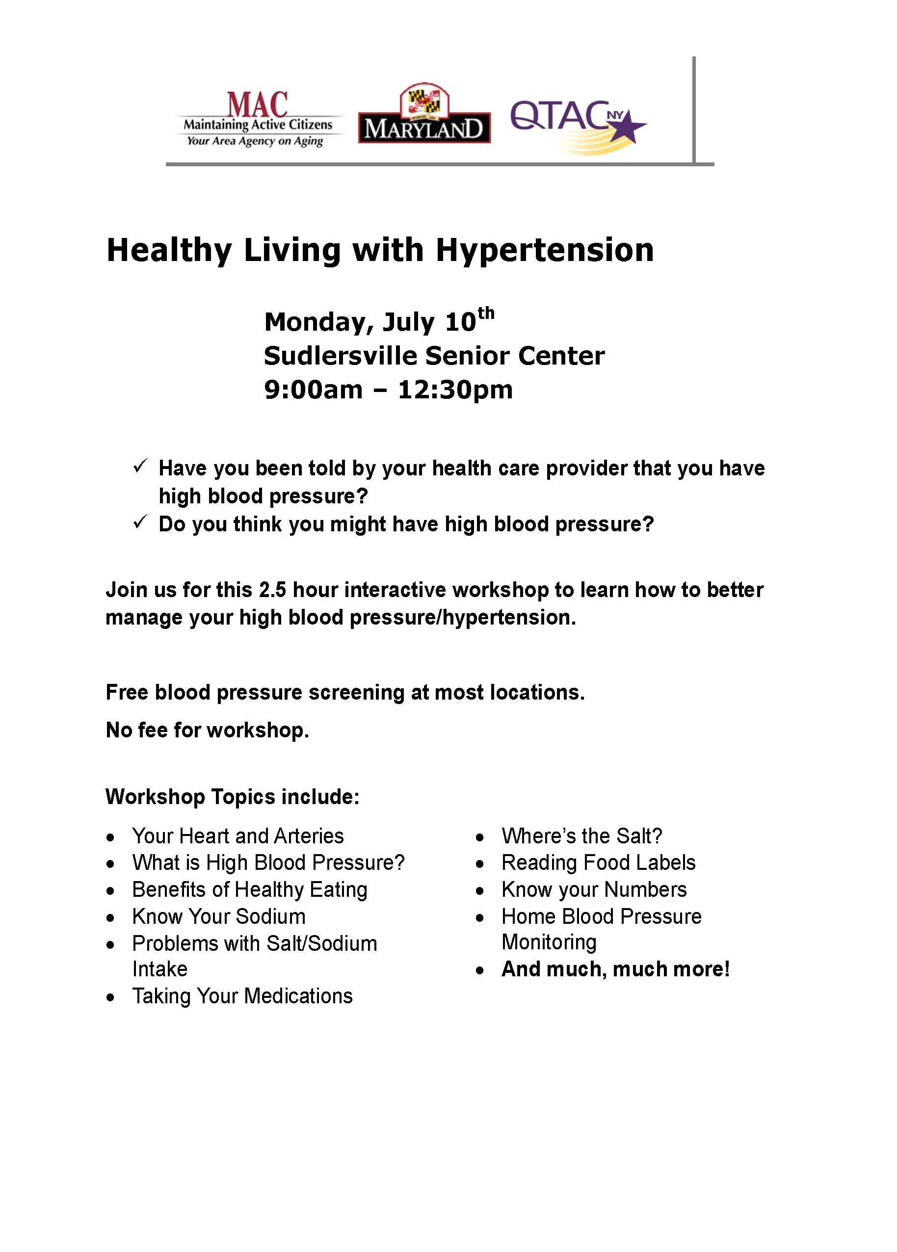 SSC Healthy Living with Hypertension