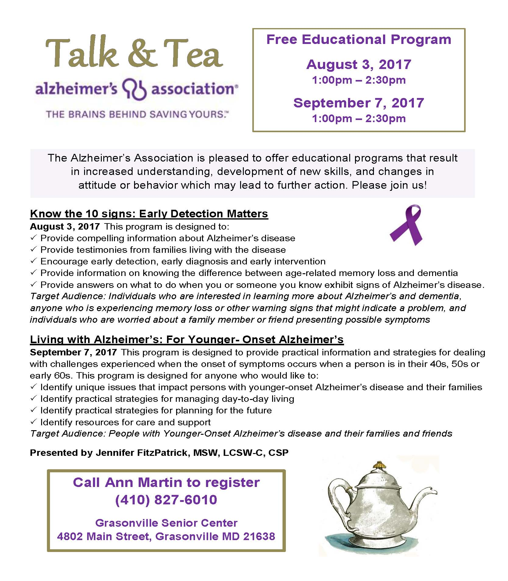 2017_8  9 Talk  Tea with Alzheimers flyer